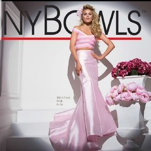 Tony Bowls 2 piece pink prom dress gown. New.